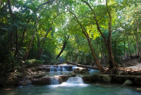beautiful waterfall cascades in erawan kanachanburi thailand