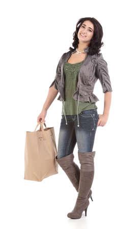beautiful young teenage woman with shopping bag Stock Photo - 9420659