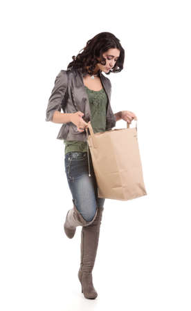 beautiful young teenage woman with shopping bag Stock Photo - 9420656