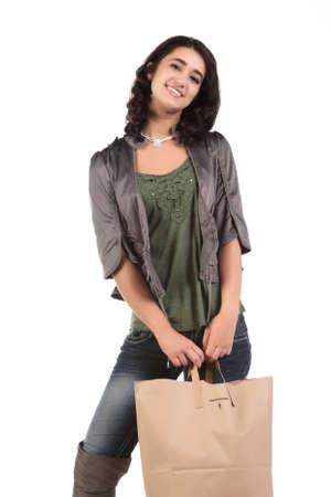 beautiful young teenage woman with shopping bag Stock Photo - 9420650