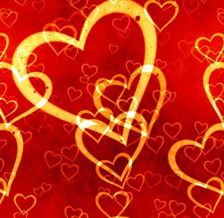 great illustration of yellow and red grunge  love heart symbols  Standard-Bild