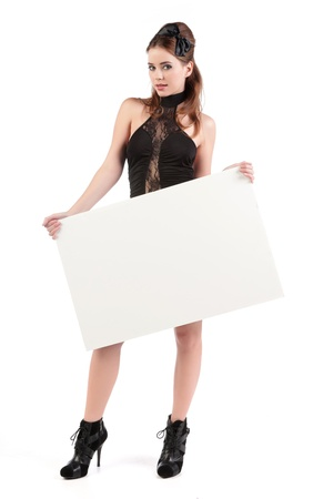 sexy young woman with sign