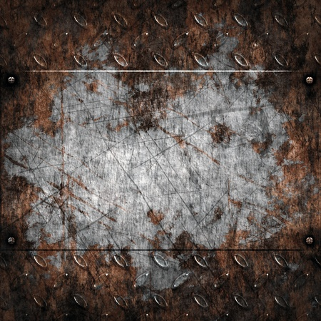 old dirty and grungy diamond plate metal background Stock Photo - 9917489