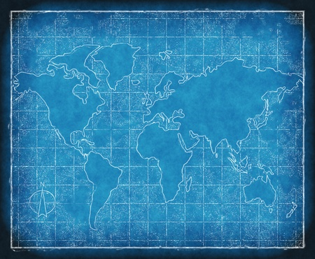 an old map of world on blueprint grid paper Stock Photo