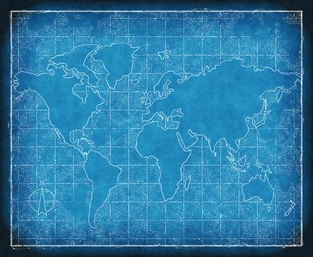 an old map of world on blueprint grid paper Standard-Bild