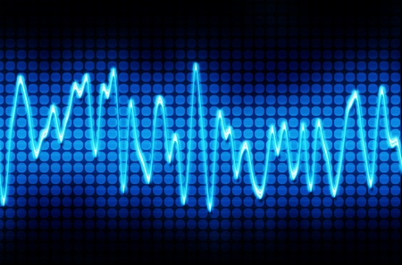 audiowave: blue electronic sine sound or audio wave  Stock Photo