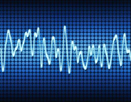 audiowave: blue electronic sine sound or audio wave  Stock Photo