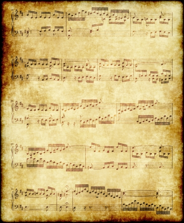 music notes on old paper Stock Photo - 12390214