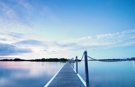 across: pontoon jetty across the water