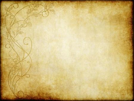parchment texture: old floral design paper