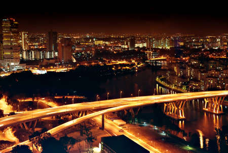 metropolitan: singapore cityscape at night