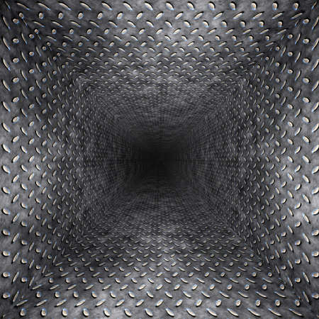 confined space: diamond plate metal tunnel Stock Photo