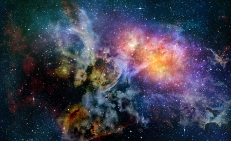 starry deep outer space nebual and galaxy Standard-Bild