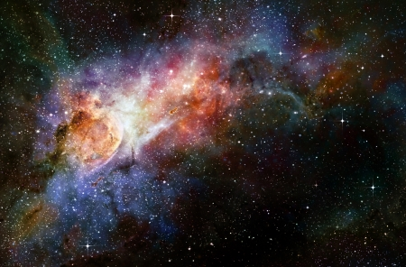 outer space: starry deep outer space nebual and galaxy Stock Photo