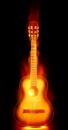flaming guitar on fire photo