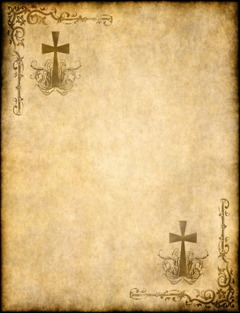 christian background: christian cross on old paper or parchment Stock Photo
