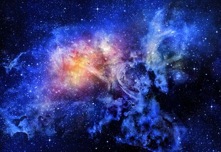 starry deep outer space nebual and galaxy photo