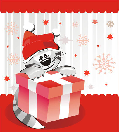 Christmas cat Vector
