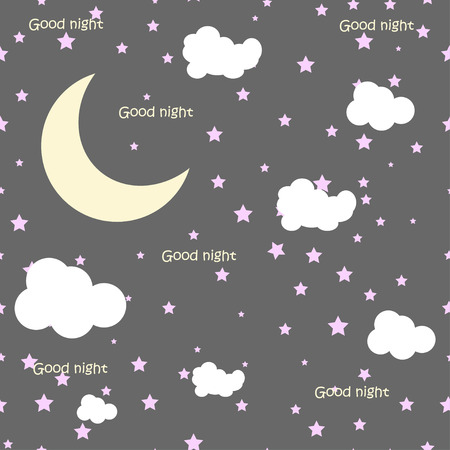 good evening: Vector night scene with moon and stars.eps10 vector star moon illustration Illustration