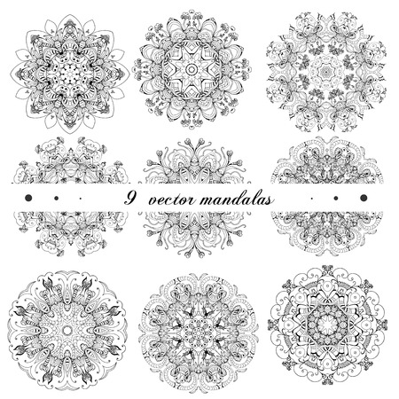 Set mandalas. Perfect set for any other kind of design Vector