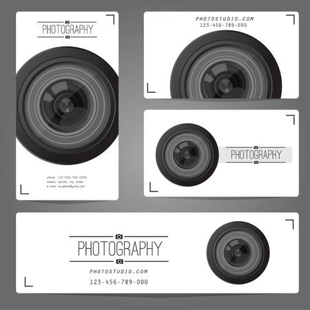 写真スタジオのロゴと名刺のテンプレートです。ベクトルの図。  イラスト・ベクター素材