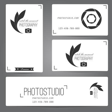 logos empresa: Logotipo de estudio Fotográfico y de plantilla de tarjeta de visita. Ilustración del vector.