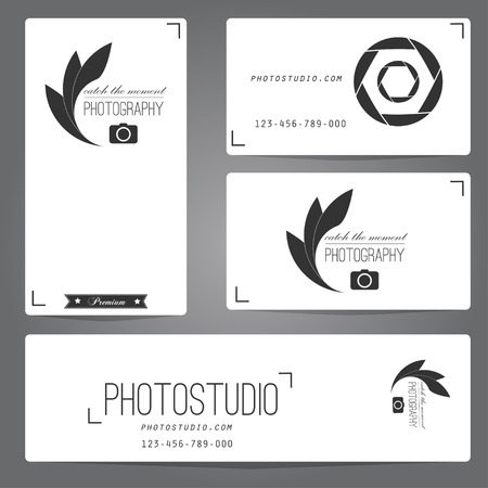 photographic film: Photo studio logo and business card template. Vector illustration.