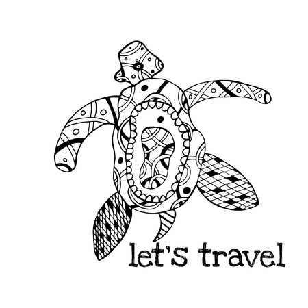 Zentangle tribal stylized turtle. Hand Drawn aquatic doodle vector illustration. Sketch for tattoo or makhenda. Animal sea collection. Ocean life. Vector