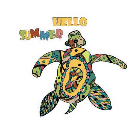 tatto: Zentangle tribal stylized turtle. Hand Drawn aquatic doodle vector illustration. Sketch for tattoo or makhenda. Animal sea collection. Ocean life. Illustration