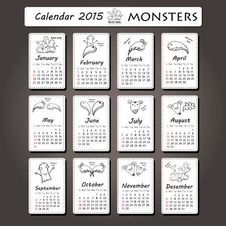 su: Monster calendar 2015 year design, English. su sa Illustration