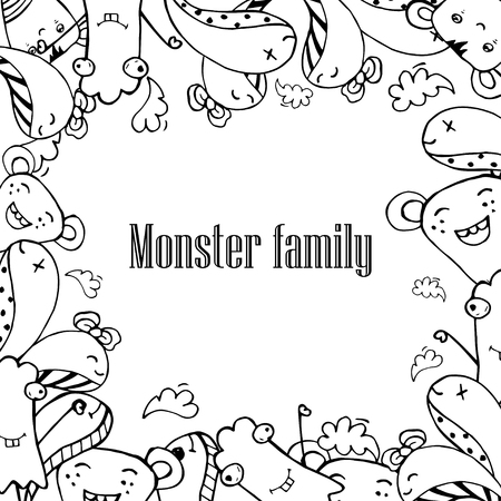 buddy: Vector illustration of Monsters and cute alien friendly, cool, cute hand-drawn monsters collection