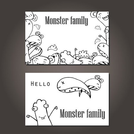 cute alien: Vector illustration of Monsters and cute alien friendly, cool, cute hand-drawn monsters collection