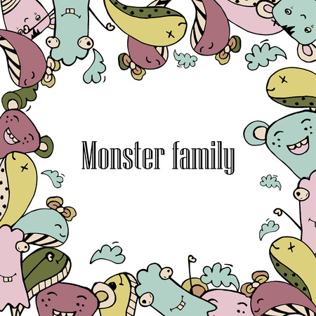 buddies: Vector illustration of Monsters and cute alien friendly, cool, cute hand-drawn monsters collection