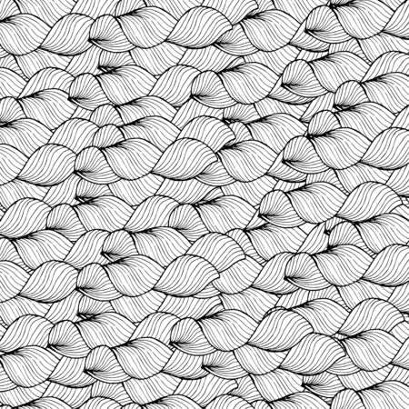sea weed: Seamless abstract hand-drawn pattern, waves background.