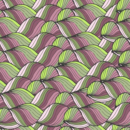 sea weeds: Seamless abstract hand-drawn pattern, waves background.