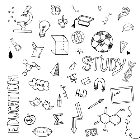 rough draft: Freehand drawing school items. Back to School. Vector illustration. Set