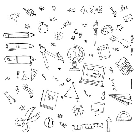 freehand drawing: Freehand drawing school items