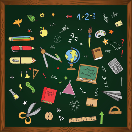 freehand drawing: Freehand drawing school items on the blackboard