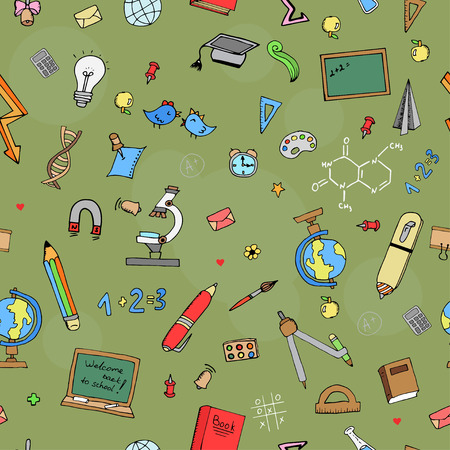 freehand drawing: Freehand drawing school seamless pattern Back to School. Vector illustration.