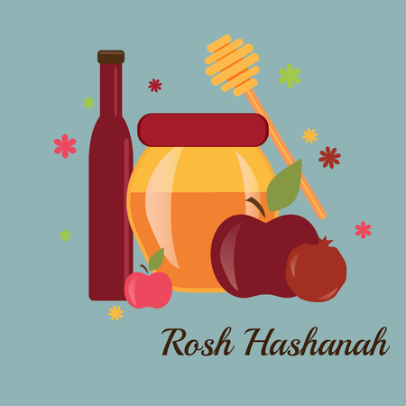 jewish new year: Greeting card design for Jewish New Year, Rosh Hashanah. Vector illustration