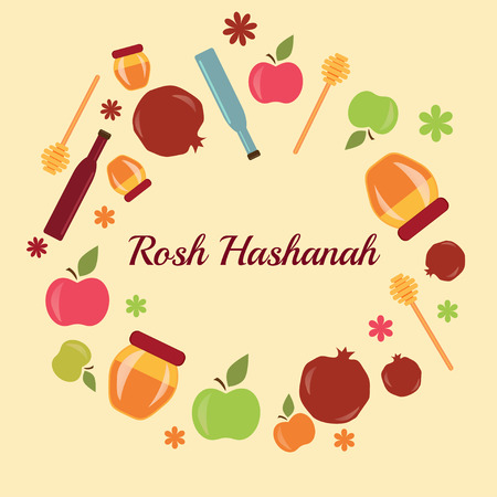 Greeting card design for Jewish New Year, Rosh Hashanah. Vector illustration