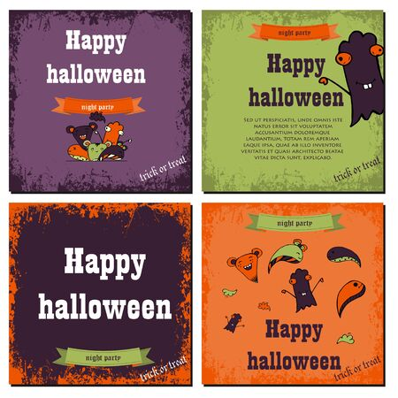 Set of Halloween night backgrounds with cute monsters