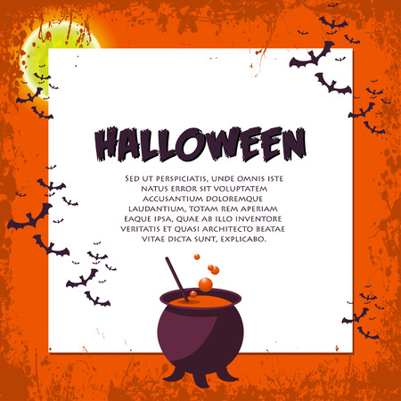 Halloween Background. Vector Illustration. Flat Halloween Icons with Square Frame. Trick or Treat Concept.