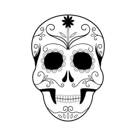 dead: Day of The Dead colorful Skull with floral ornament Illustration