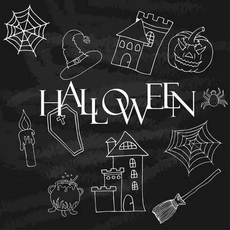 scull: Vintage Typography Halloween Badges Logos or Labels Pumpkin Ghost Scull Bones Bat Spider Web and Witch Hat