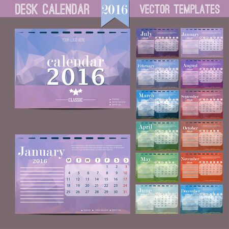 calendario da tavolo: Desk Calendar 2016. Vector Print Template. Week Starts Monday. Vector Illustration Vettoriali