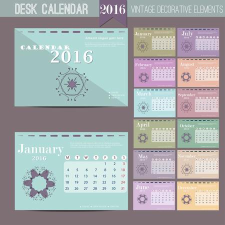 calendario: Calendario de escritorio de 2016. Vector del modelo de impresi�n. La semana comienza el lunes. Ilustraci�n vectorial