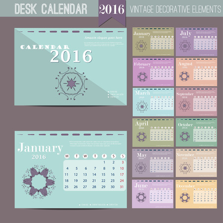 template: Desk Calendar 2016. Vector Print Template. Week Starts Monday. Vector Illustration Illustration