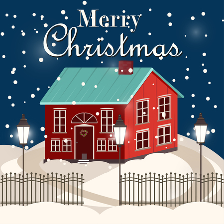 christmas house: House in snowfall. Christmas greeting card background poster. Family house. Merry Christmas Family house