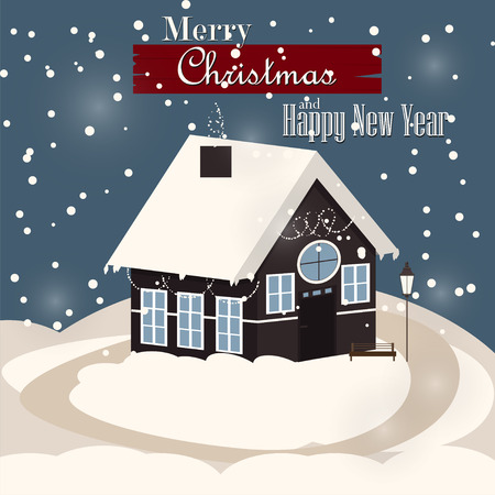 family house: House in snowfall. Christmas greeting card background poster. Family house. Merry Christmas Family house